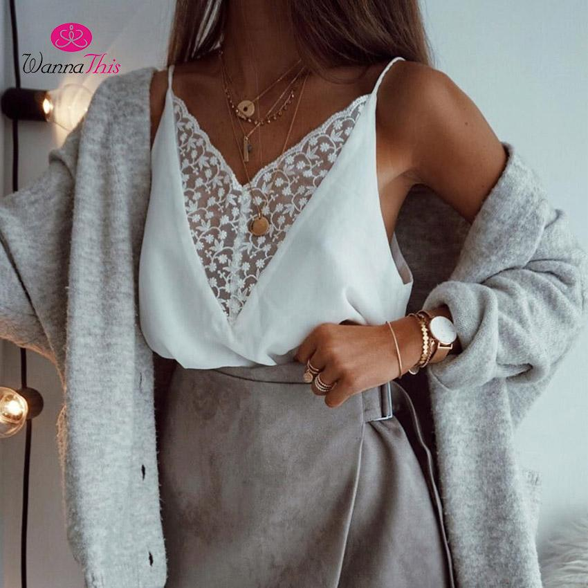 395a99b39f68e 2019 WannaThis Sexy White Lace Camisole Tops Women V Neck Sleeveless Strap Tank  Top Casual Fashion Tops Summer Sleepwear Nightshirts From Vanilla04