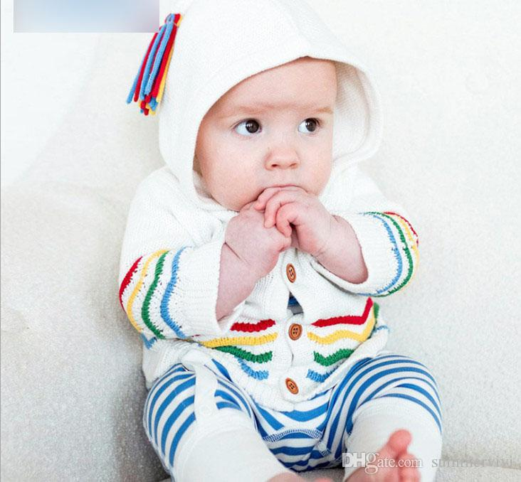 9d36e5804 INS Baby Girls Boys Cardigan Kids Colorful Stripe Embroidery Outwear ...