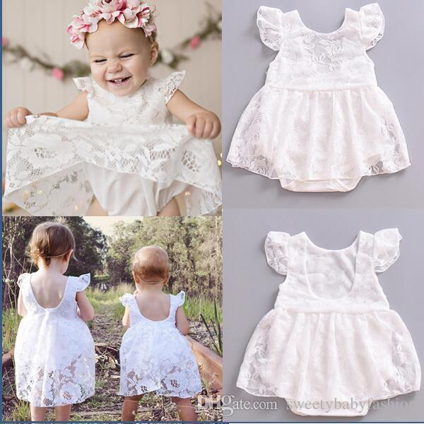 253a2e59356 New Kids Baby Girls Lace Fly Sleeve Baby Romper Jumpsuit Sunsuit ...