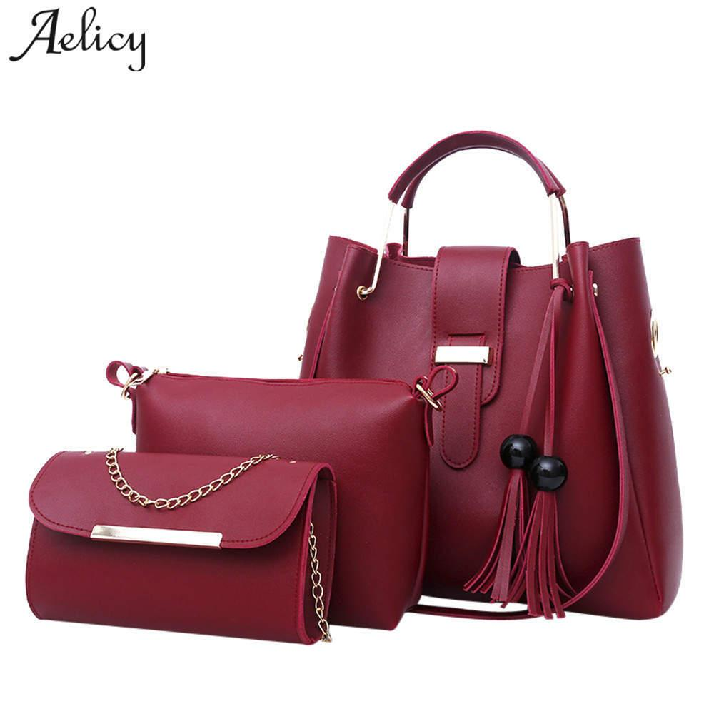 Aelicy 2018 Women Handbags PU Leather Shoulder Bags Casual Tote Bag Tassel  Metal Handle Designer Composite Bags D18101005 Handbags Purses From  Yizhan07 0b3f1a28c920e