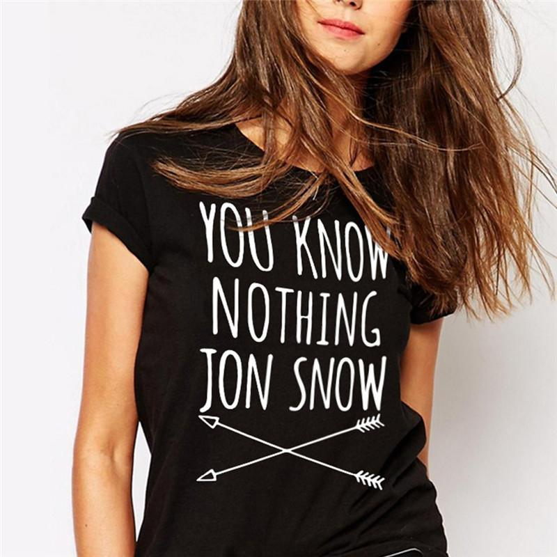 Women's Tee Jinben Fashion Women Casual Cotton Short Sleeve You Know Nothing Jon Snow Cool O - Neck Printed Letter T-shirt Camisetas Mujer