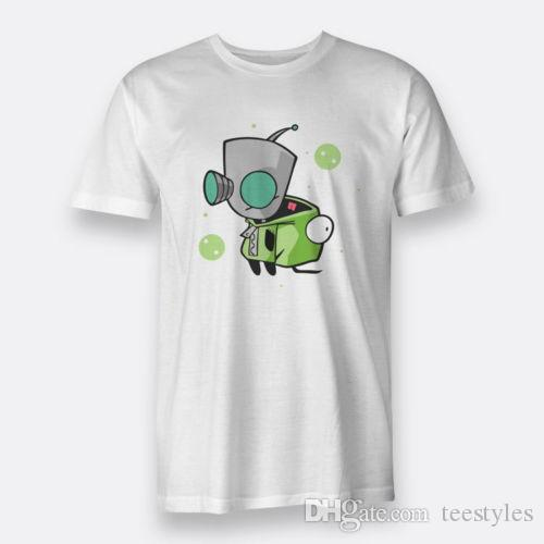 GIR Invader Zim Green Men's Tees S to 3XL White T-shirt T-shirt Men Boy Rock White Short Sleeve Custom 3XL Couple T Shirts