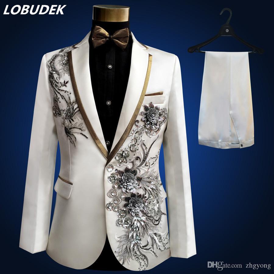 1c492763113d Acheter Veste + Pantalon + Nœud Papillon + Ceinture Costumes Homme Mariage  Robe De Mariée Applique Fleurs Paillettes Blazers Prom Blanc Noir Rouge  Costume ...