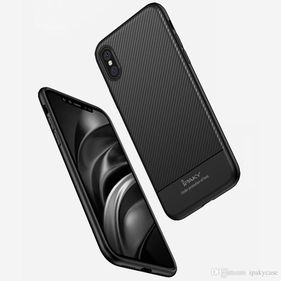 size 40 56ce0 58b12 iPaky Case For iPhone X Carbon Fiber TPU Back Cover Drop-proof Shockproof  Soft Ultra Thin Slim Protective Cases With Retail Package In Stock