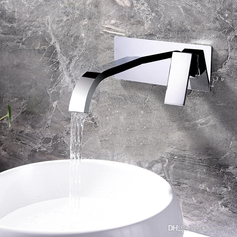 2019 Brass Basin Faucets Wall Mounted Waterfall Sink Faucet Chrome