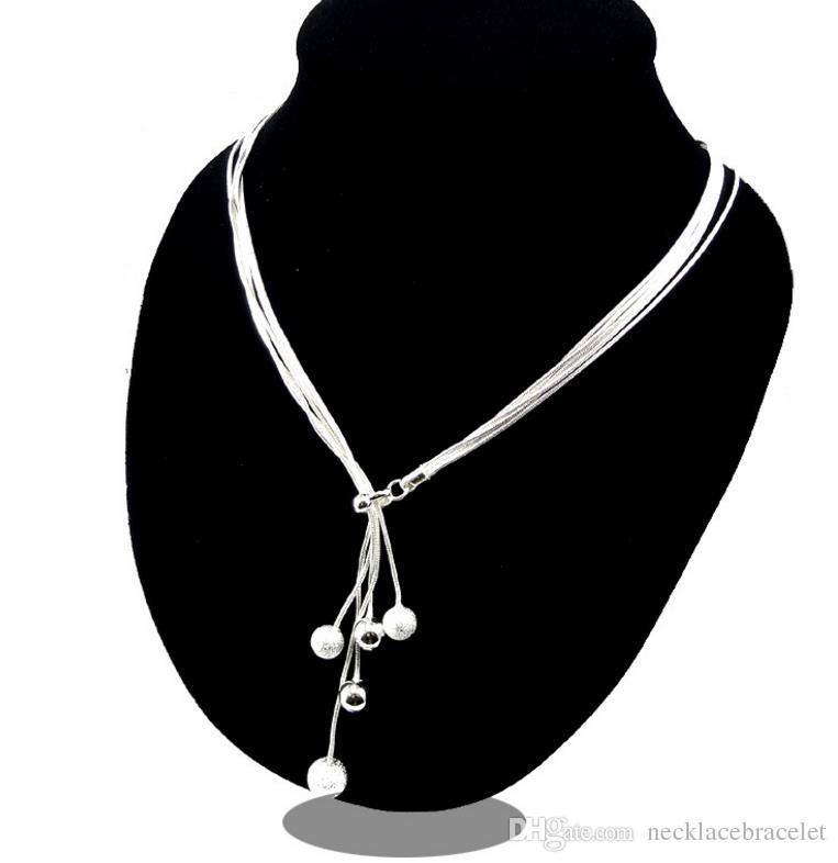 도매 매력 소매 뜨거운 구슬 목걸이 925 순수 실버 여성 목걸이 펜던트 선물