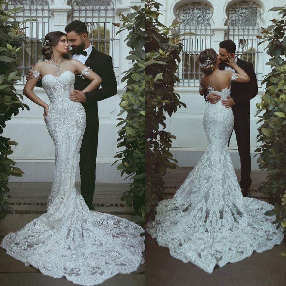2019 New Modern Mermaid Wedding Dresses Arabic Sweetheart Full Lace  Appliques Long Court Train Plus Size Open Back Bridal Gowns Vestidos  Wedding Dress ... 7df2e9701dbe