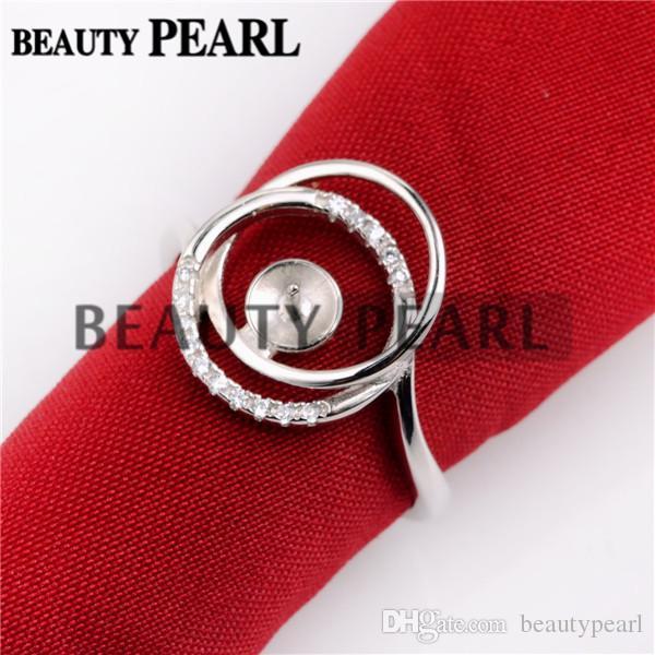 Zircon Encircled Ring Pearl Mountings 925 Sterling Silver Blanks Jewelry Making DIY Pearl Ring