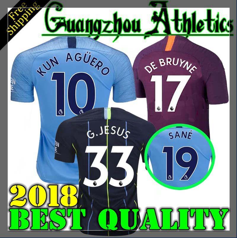 Compre Man City 2018 2019 G.JESUS casa Camisa De Futebol 18 19 Manchester  City DZEKO KUN AGUERO KOMPANY TOURE Camisa YAYA DE BRUYNE STERLING Adulto  De ... 90c03d1b797f1