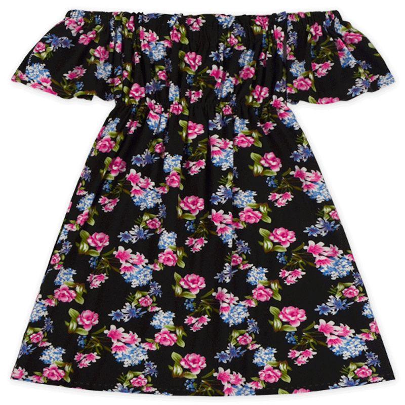 Green Floral Kids Dresses Fashion Design Off Shoulder Baby Girls Clothes Boho Kids Girls Beach Dresses Floral Girls Clothing Outfit