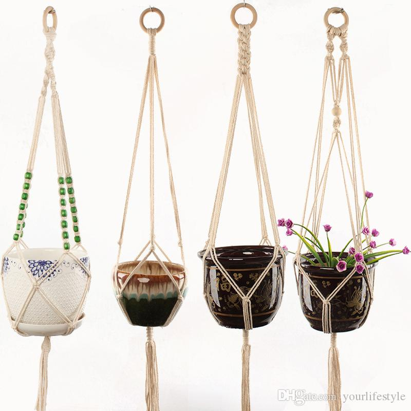 2019 Flower Pot Hanging Rope Macrame Plant Hanger Basket Flowerpot Plant Holder Macrame Hanging Vintage Knotted Lifting Rope Garden Decoration From ... & 2019 Flower Pot Hanging Rope Macrame Plant Hanger Basket Flowerpot ...