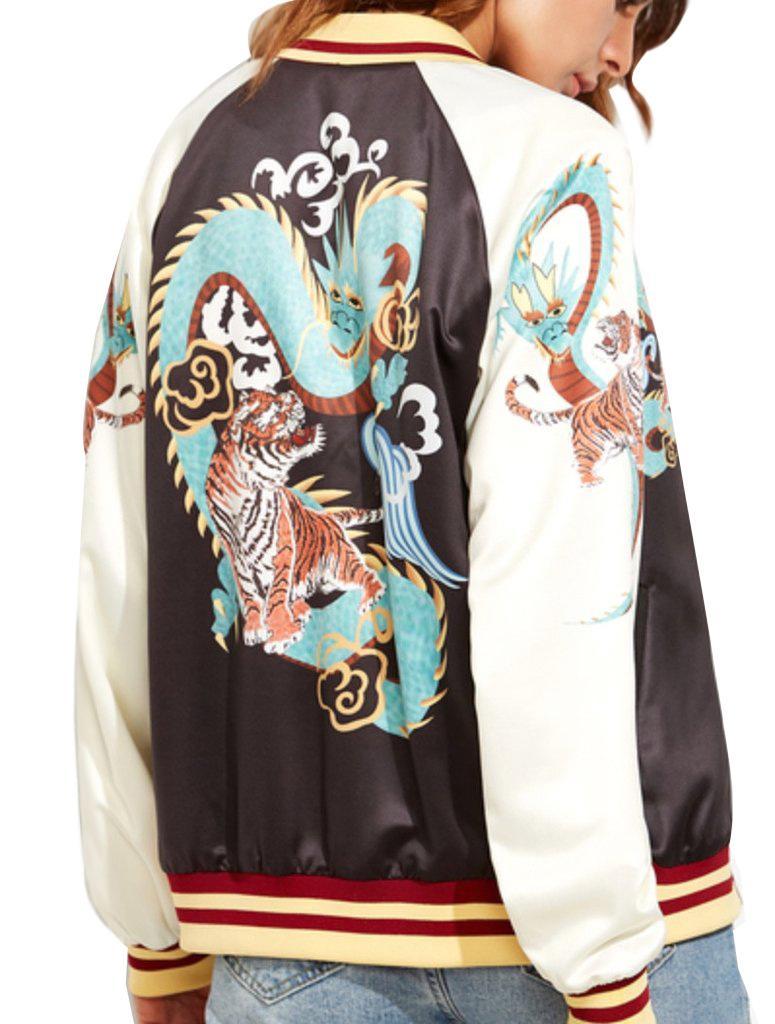 Compre Mujeres Chaqueta Larga Moda Dragón Chino Imprimir Manga Larga  Cremallera Otoño Turn Down Sport Coat Chaquetas Abrigo Outwear Mujer Tops A   43.63 Del ... 61ed7ede833f0
