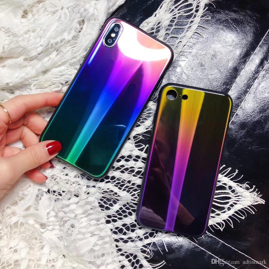 b44a4372f3c Luxury Aurora Gradient Color Phone Case For iPhone X 8 7 6 6s Plus  TPU+Glass Blue Ray Gradient Light Back Cover For Samsung S8 S9