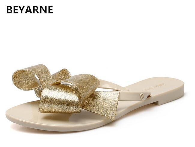 BEYARNE Moda mujer jalea playa sandalias dama chanclas pisos lluvia zapatos mujeres verano Zapatillas negro blanco rosa 36-41 verde 39