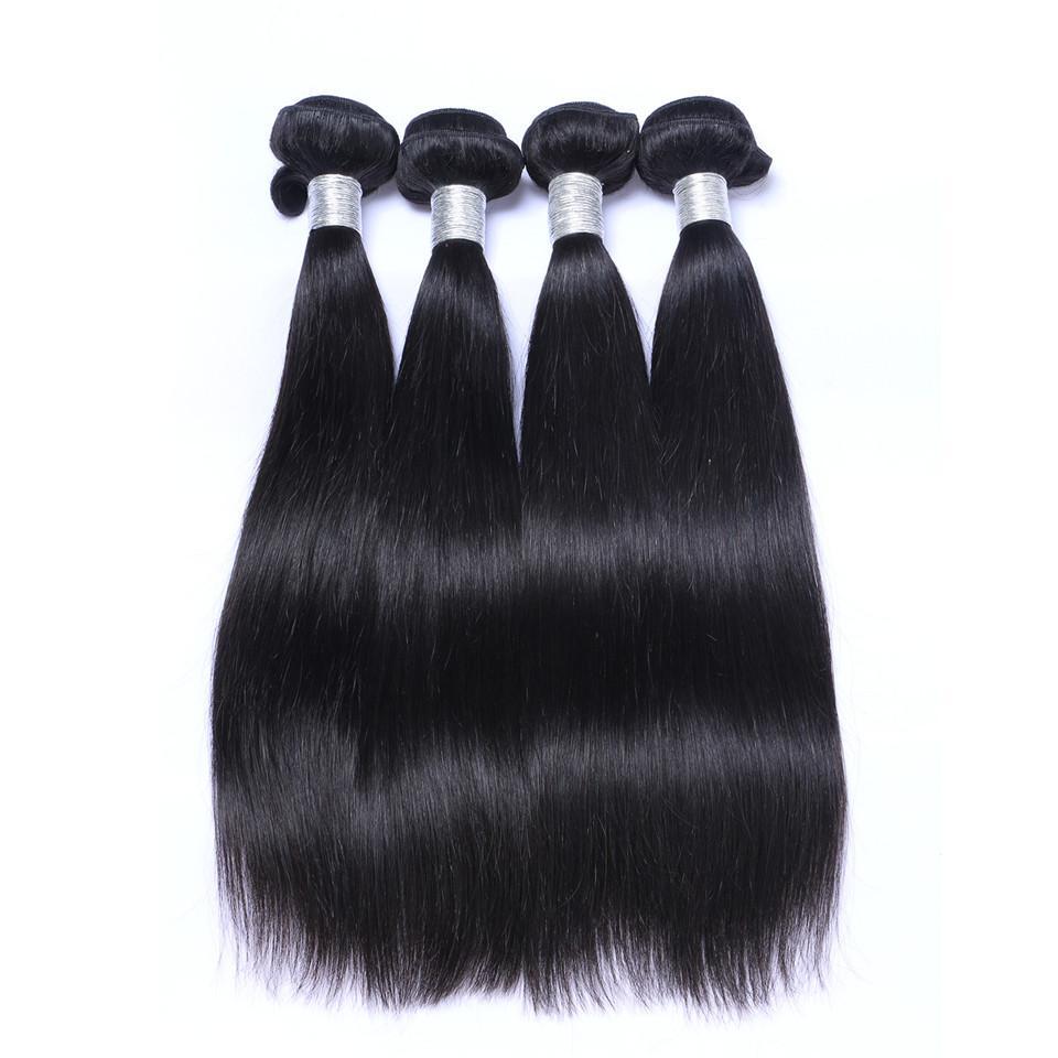 Brasilianisches Körper-Wellen-Jungfrau-Haar Weaves mit 4x4-Spitze-Schliessen Rohboden Remy Menschenhaar spinnt einschlagDoppel natürliche schwarze Farbe /