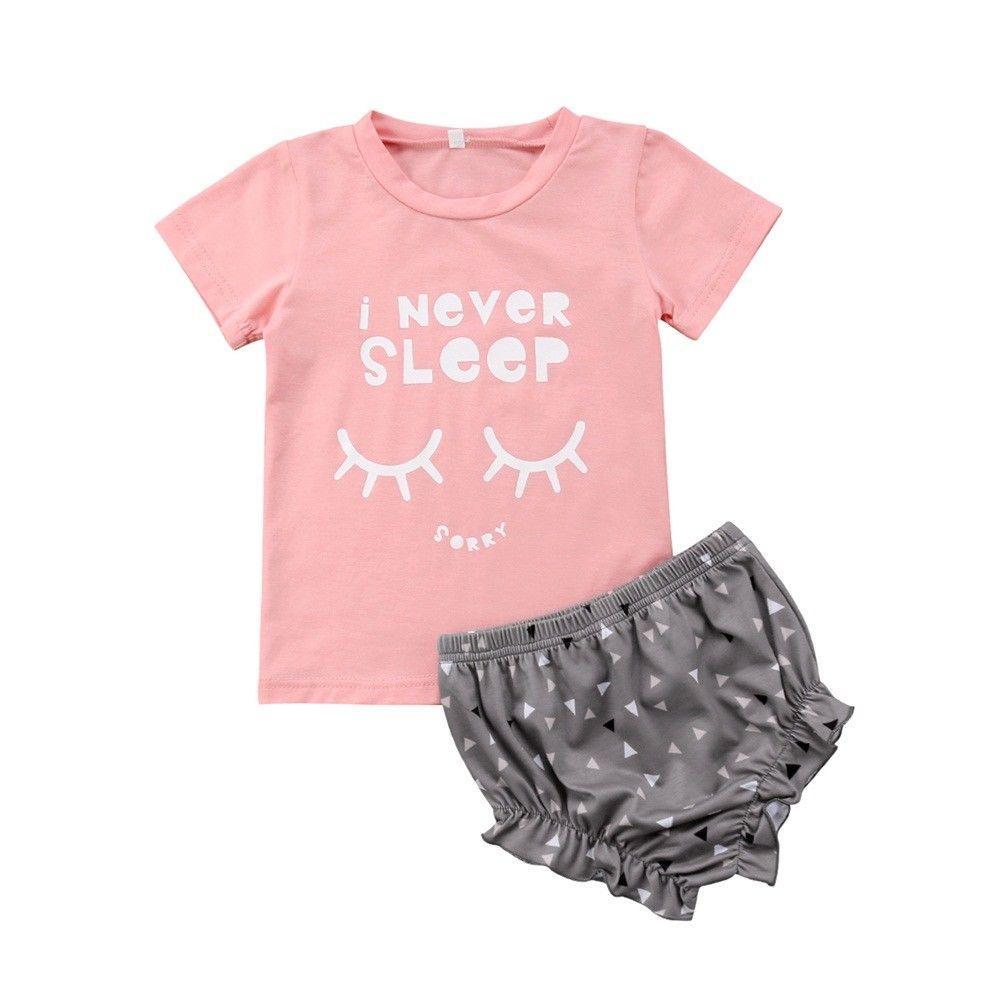 304b19adf8e7 2019 Emmababy Toddler Kids Baby Girl Eyelash Outfits Tops+Shorts ...
