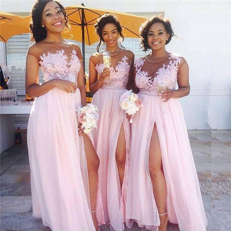 b7a8d98f18 Latest Pink Chiffon Long Bridesmaid Dresses Cap Sleeve Lace Applique Split  Floor Length Formal Wedding Party Bridesmaids  Dresses Online Tangerine ...