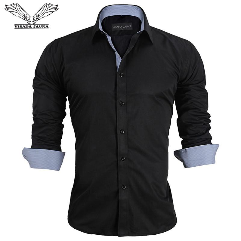 cba254077a3 2019 VISADA JAUNA European Size 2017 Spring Men S Shirts Long Sleeved  Business Casual Stitching Solid Arrival Dress High Quality N917 D18101305  From ...