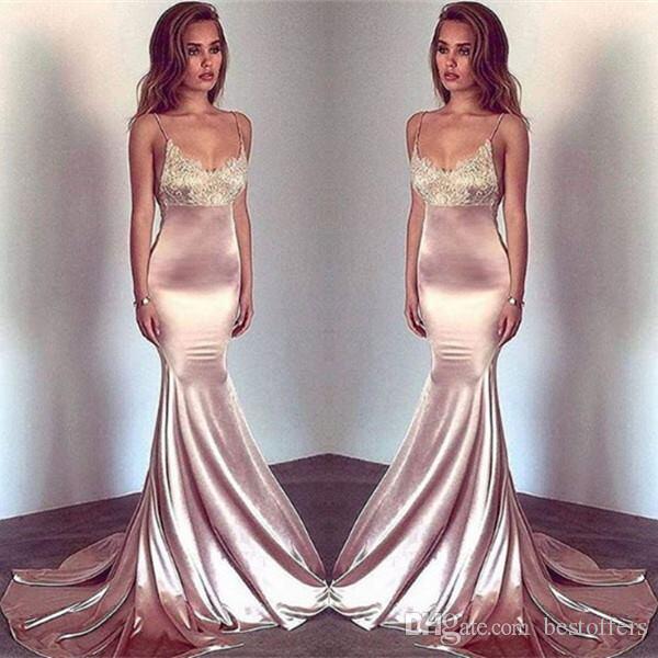 Blush Pink Spaghetti Straps Sirena Vestidos de baile 2019 Vintage Lace Seda Mancha Fiesta Use Sexy Vestidos de noche Vestidos formales personalizados