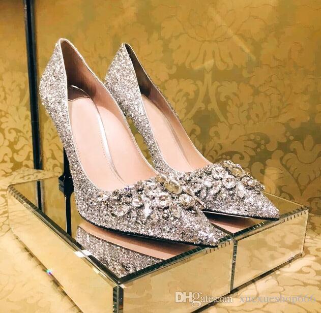 Chaussures Astuce À Talons Bouche Banquet Femme Peu Luxe Marque De Hauts Fashion Strass Paillettes Profonde 8nwP0OkX