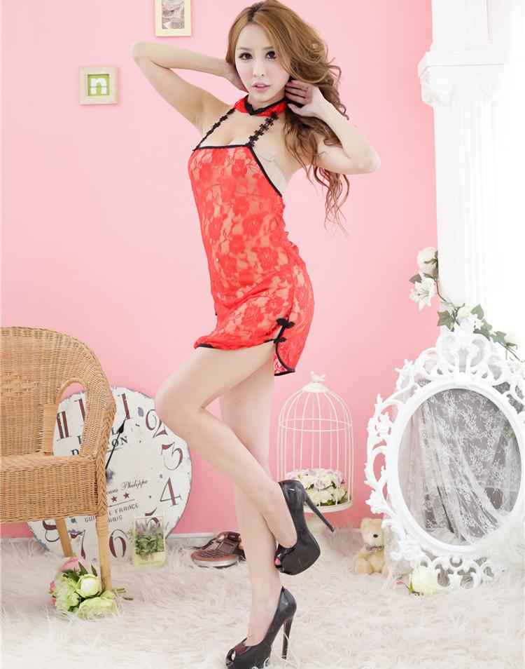 sexy hot erotic babydoll lingerie teddies lenceria open crotch Embroidered cheongsam see through plus size pajamas women
