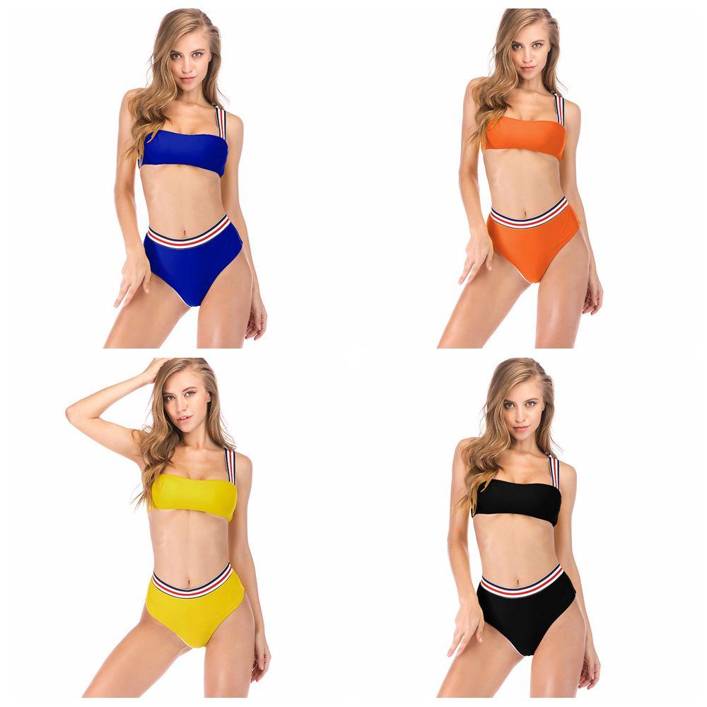 eb0164c1c9f3 Compre 4 Estilos De Las Mujeres Traje De Bikini Sólido A Rayas Traje De  Cintura Alta De Natación De Dos Piezas Chica Moda De Baño Trajes De Baño  Nuevos ...