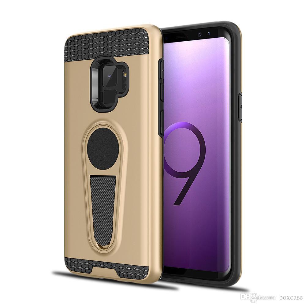 best service 795d6 d0421 Hybrid Kickstand Case for Samsung Galaxy A8 Plus 2018 Note 9 5 8 J5 J7  Prime Grand G530 Car Holder Magnetic Cover Back