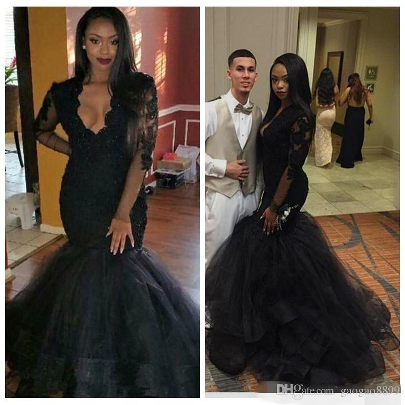 14768dcb611 2018 African Black Girl Lace Mermaid Evening Dresses Party Wear Sheer V  Neck Long Sleeves Appliques Elegant Prom Party Gowns Children Party Dresses  Floral ...