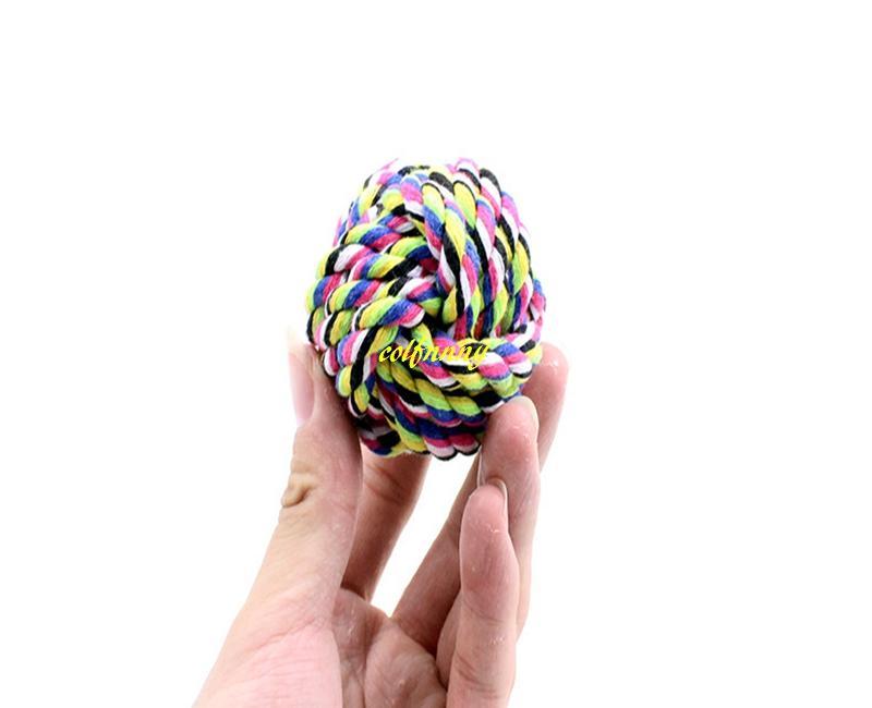 5 pz / lotto 5.5 cm 7 cm 9 cm Pet cane gioca palla giocattoli cane corda di cotone cucciolo gioca giocattoli cane denti pulizia giocattoli cani