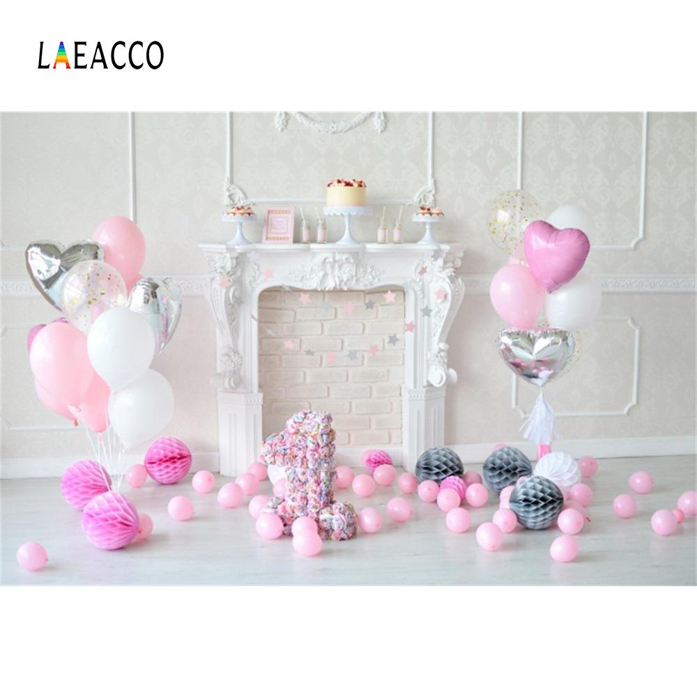 2019 Laeacco Pink Balloons Fireplace 1st Birthday Baby Photography Backgrounds Customized Photographic Backdrops For Photo Studio From Ingemar
