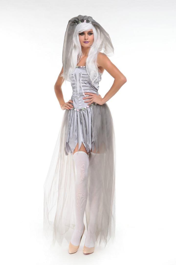 dbaf3cb33859 Großhandel Erwachsene Frauen Halloween Corpse Ghost Braut Kostüm Damen  Weißes Kleid Skeleton Scary Zombie Cosplay Lange Outfit Für Mädchen Von  Dayup, ...