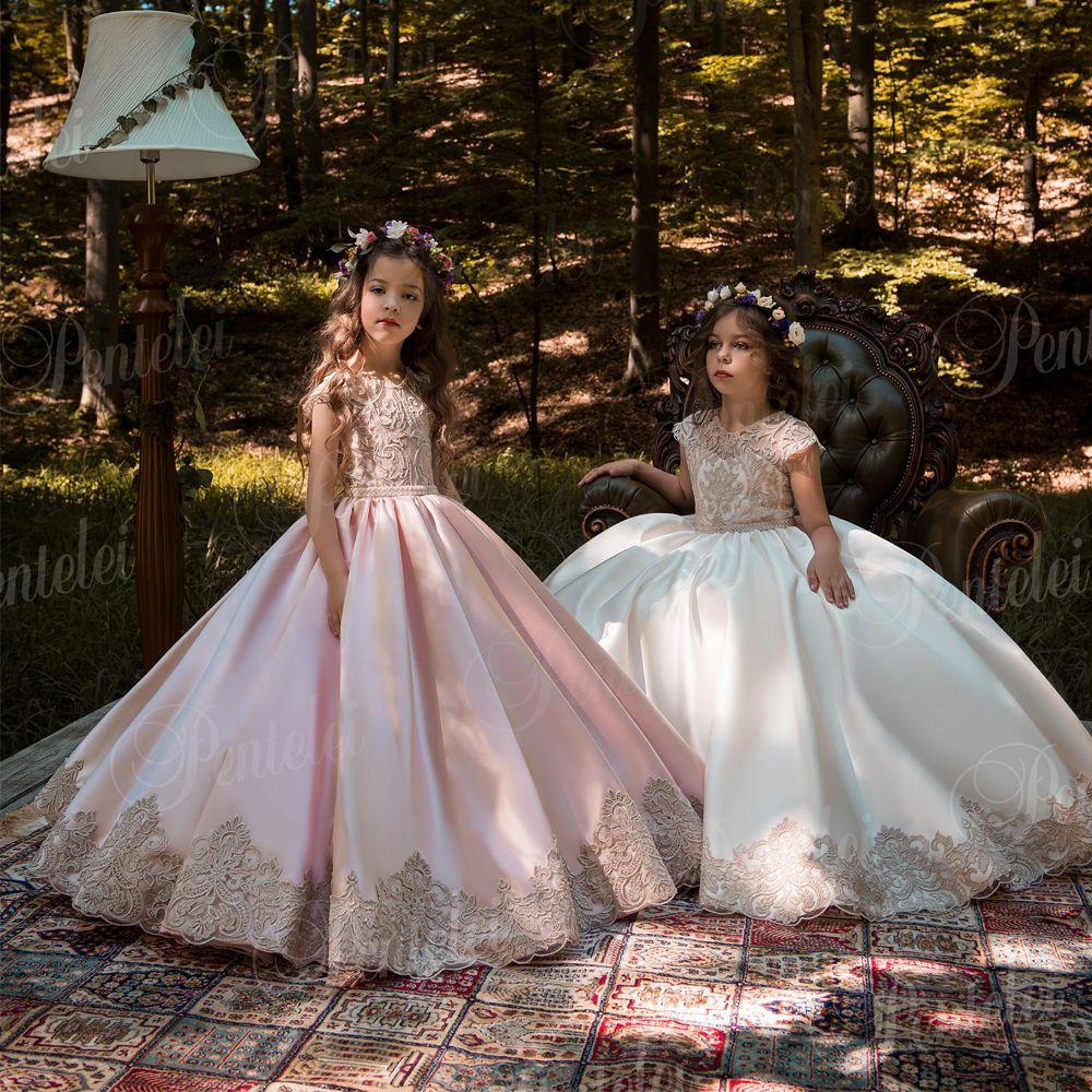 Vintage Pink Princess Flower Girl Dresses With Gold Lace Appliqued