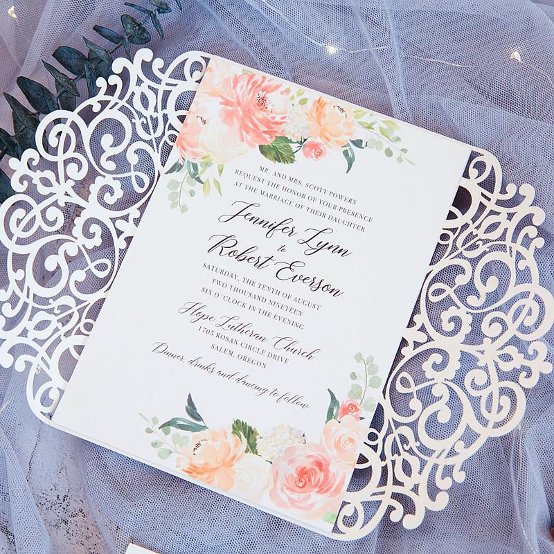 50 kit lace white flower fold laser print invitations for wedding