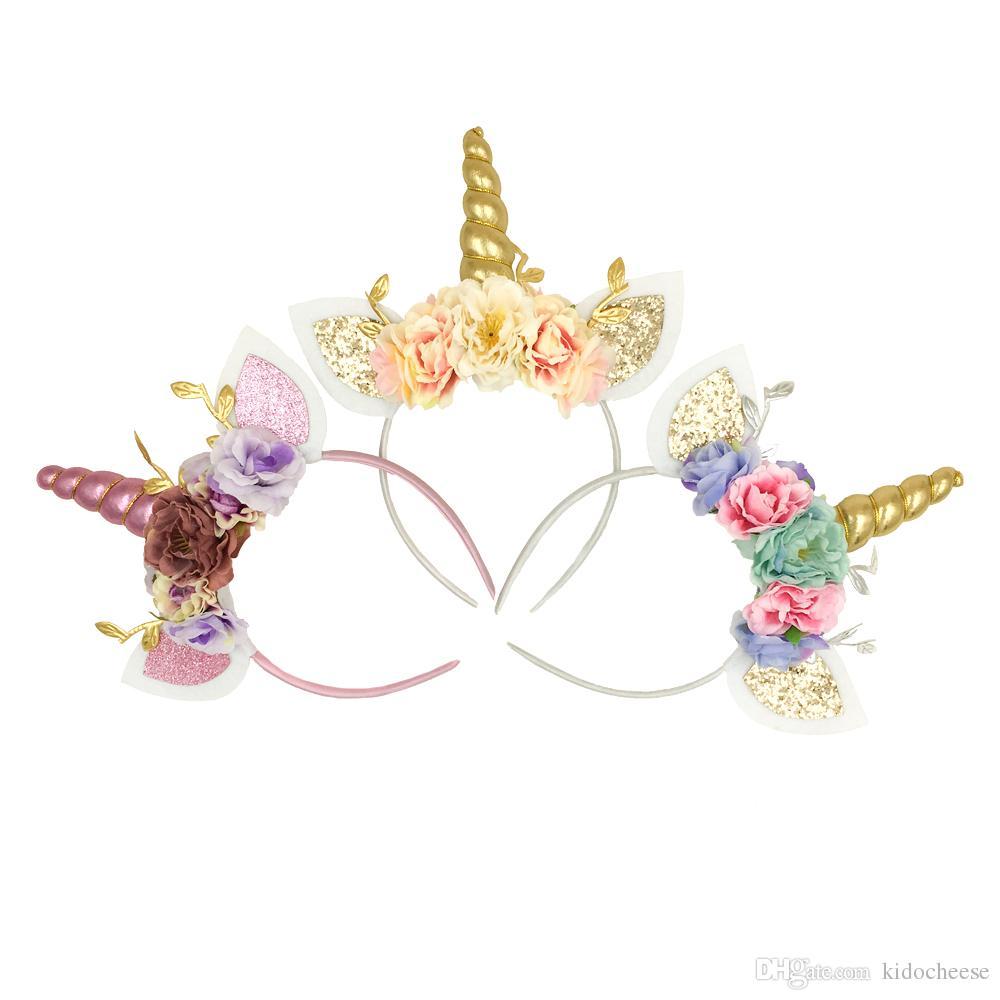 Unicorn Horn Headband Sequin Cat Ears Hair Band Flower Crown