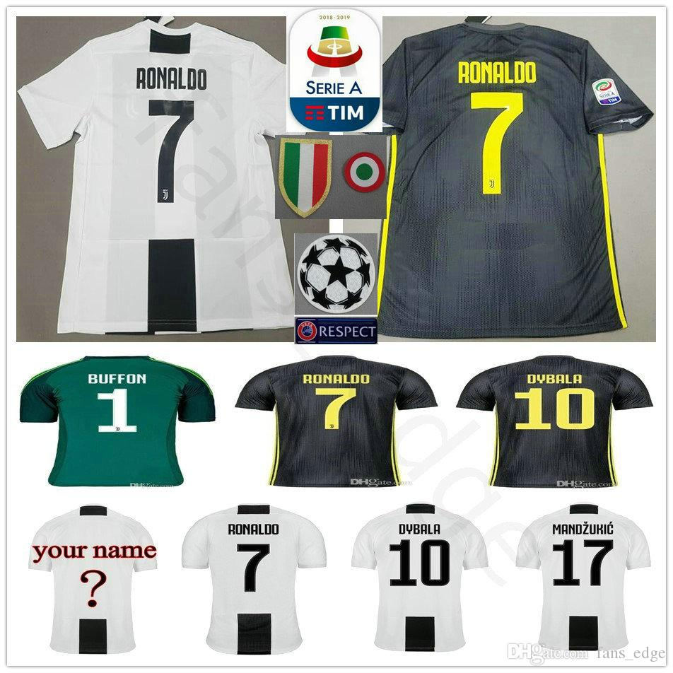 d7e724f6cfb RONALDO JUVENTUS Soccer Jersey 2019 RONALDO  7 BUFFON 10 DYBALA 17 ...