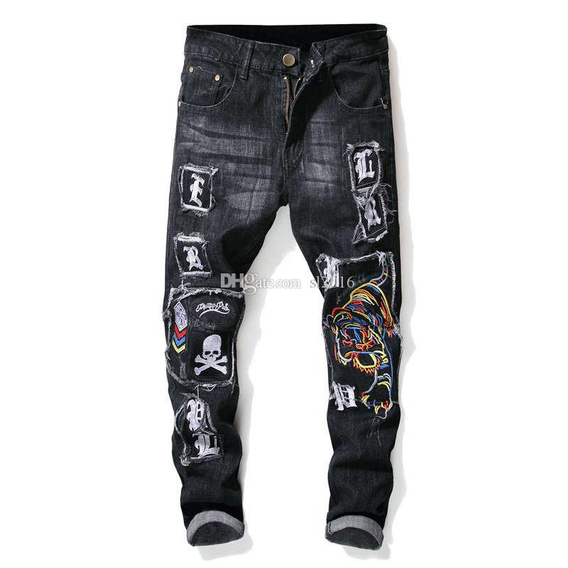 Luxury Embroidery Biker Jeans Ripped Hole Jeans Male Slim Fit Straight Denim Men Designer Patchwork Jeans Homme Vaqueros Hombre 28-38