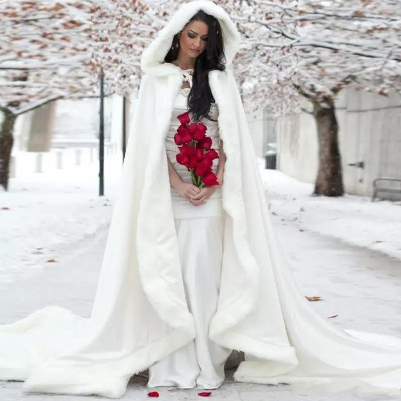 Wedding Gown Wraps: 2019 Winter White Wedding Cloak Floor Length Bridal Free