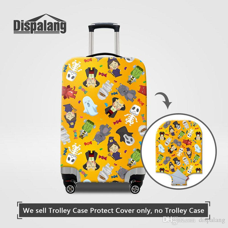 Travel On Road Luggage Protect Cover For Women Men Fashion Holloween Print Thick Elastic Stretch Dustproof Rain Protective Suitcase Covers