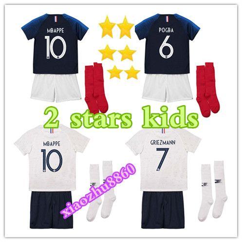 14094bc0ac4 Kids Kits+socks GRIEZMANN Home POGBA MBAPPE UMTITI Soccer Jerseys ...