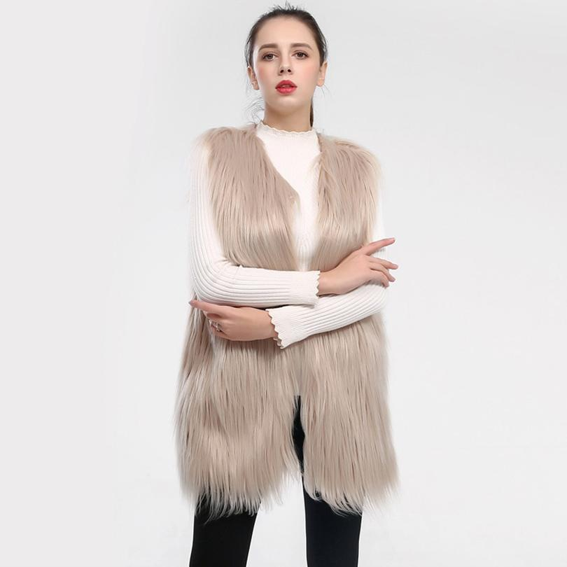 Fluffy long faux fur vest coat women Winter fake fur streetwear coat female Fashion imitation fur coats outerwear 2018 BNT029 S112