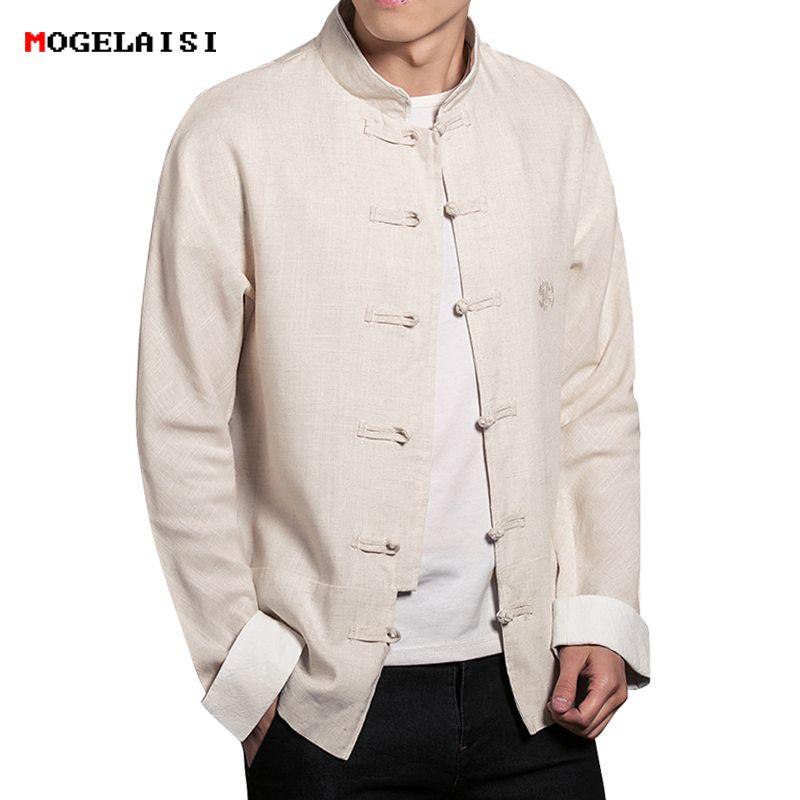 ffda643bb6f1f Satın Al Erkek Ceketler Sonbahar Keten Pamuk Çin Tarzı Ceket Adam Keten  Ceket Nakış Erkek Ceket Katı Standı Yaka Artı Boyutu M 5XL, $45.64 | DHgate. Com'da