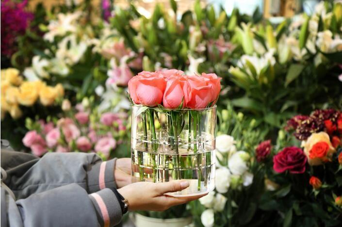 Akrilik Gül Çiçek Ekran Saklama Kutusu Makyaj Organizatör Kozmetik Tutucu Çiçek Hediye Kutusu Vaka Sevgililer Günü Hediyeniz