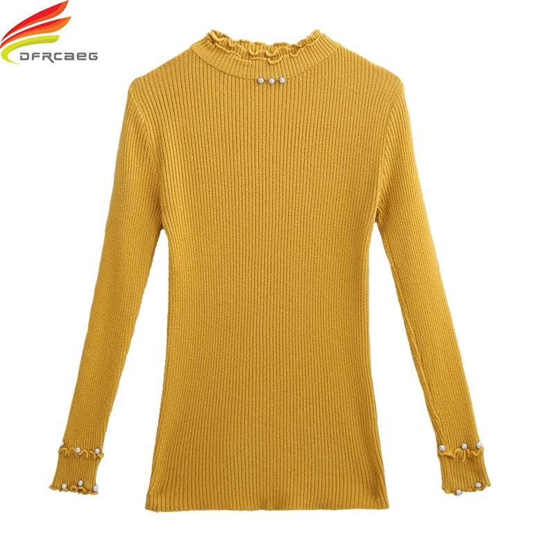 29cf0ec9109a96 2019 Autumn 2018 Women Sweater Pullover Basic Rib Knitted Cotton Tops  Turtleneck Pullovers Essential Jumper Long Sleeve Sweaters Tops From Cacy
