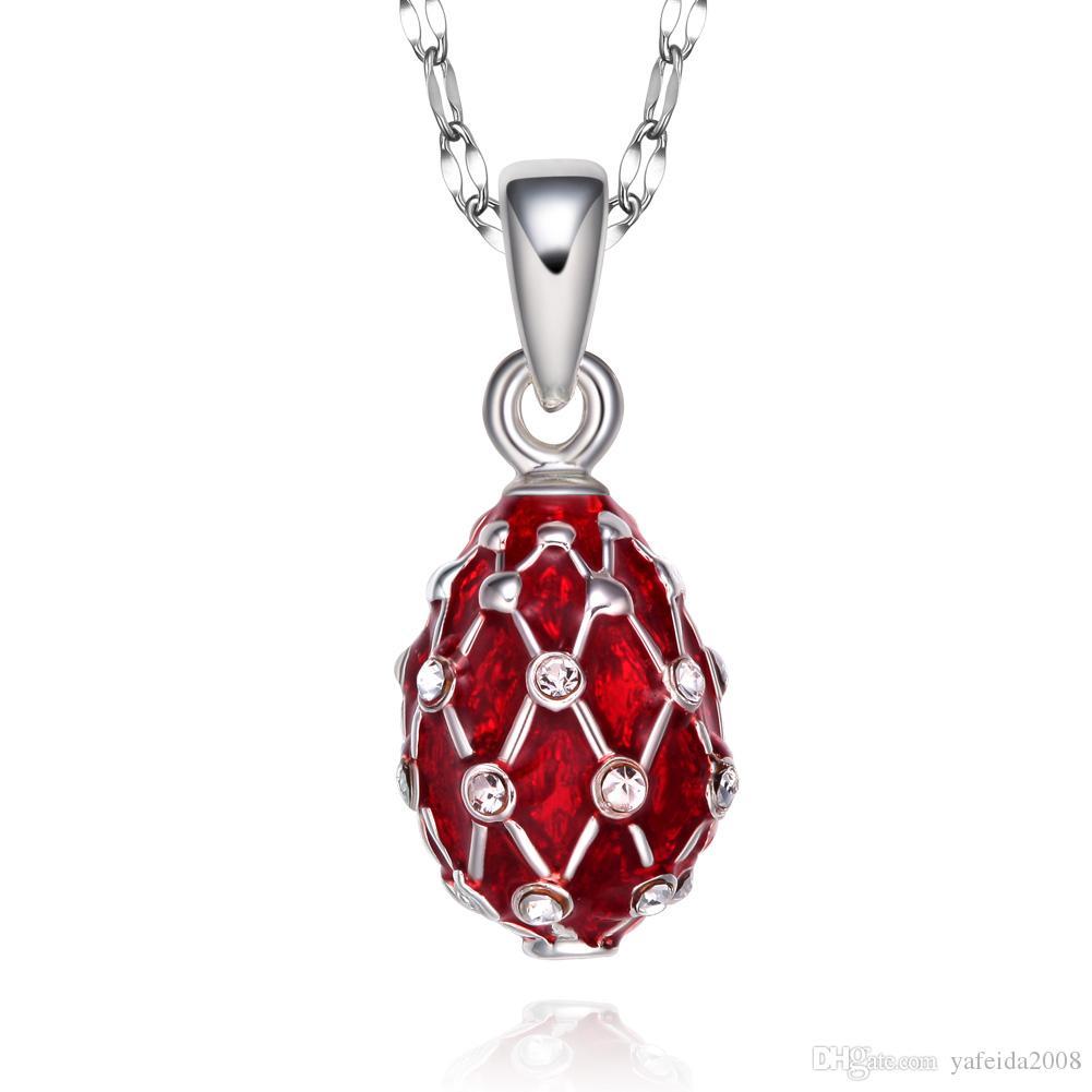 niñas regalo collar tamaño mini esmalte joyería hecha a mano de latón Sus huevos colgante de cristal Rhinestone a las mujeres
