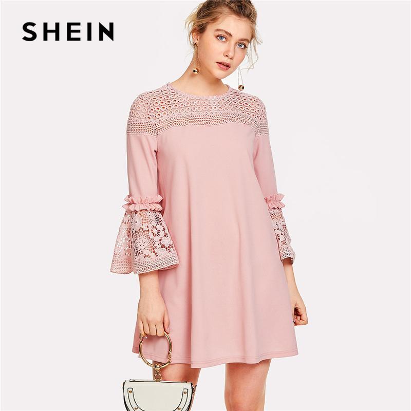 eb3db022dd92d1 2019 SHEIN Eyelet Crochet Lace Detail Frill Trim Dress 2018 Summer Round  Neck Butterfly Sleeve Dress Women Pink Elegant Ruffle From Silan