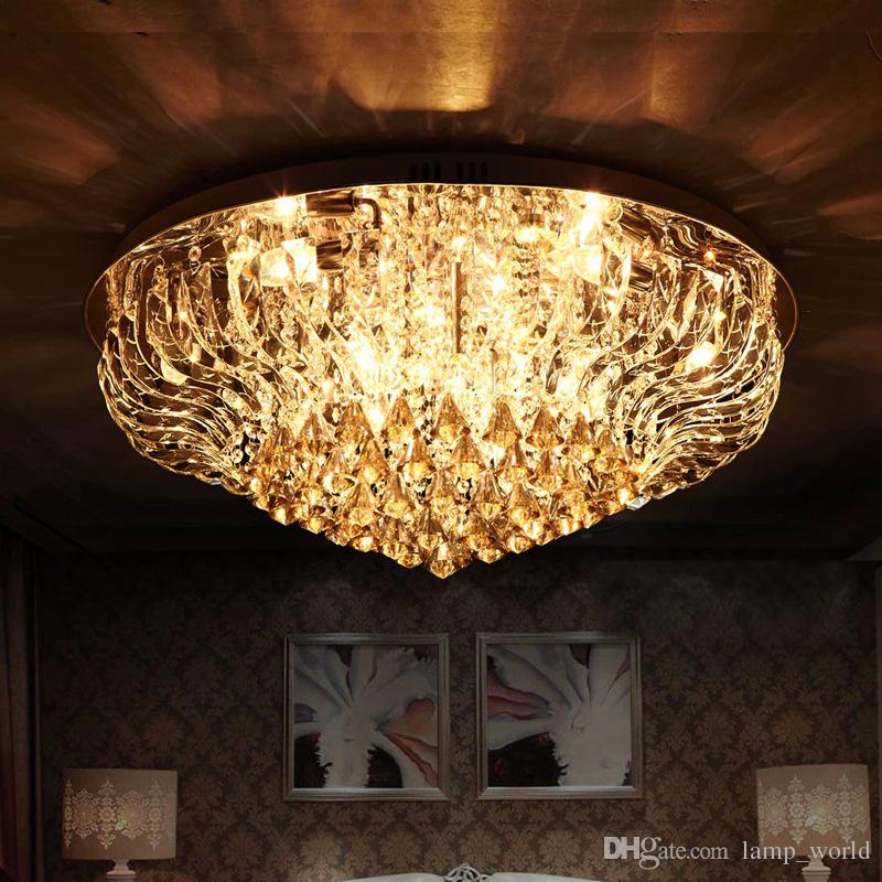 Bright Modern Big Round Led Crystal Ceiling Light Fixture Indoor Chandelier K9 Material Home Lighting From