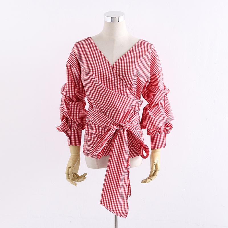 Blusa de tela escocesa roja camisa de las mujeres 2018 Otoño Invierno Manga larga Puff Sash Wrap Blusa Blusas Sexy Profundo escote en v Bow Tie Blusa Femme