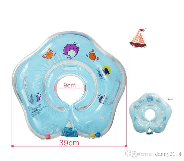 baby swim neck float inflatable ring tube adjustable safety aids newborn babies infant swimming bath mattress toy rings with bells