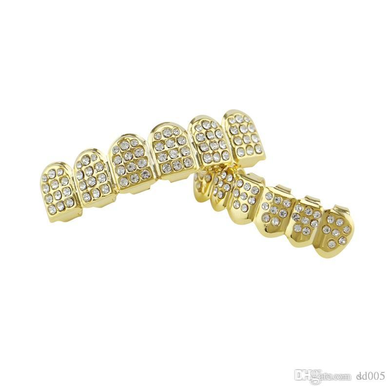 Gold Color Iced Out Dental Grin Top Bottom Bling Men And Women ... 58637fb8c0