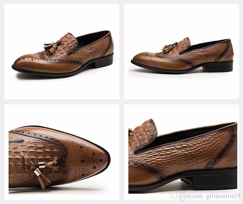 GRIMENTIN Hot sale fashion brand men loafers genuine leather soft comfortable crocodile style formal mens dress shoes Italian male shoes
